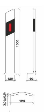 Габаритные и установочные размеры Столбика направляющего